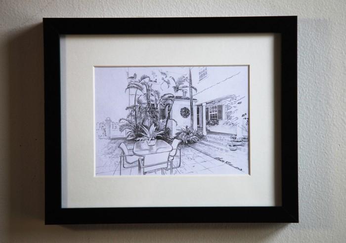 Miami Beach Courtyard 5″x7″ graphite on paper