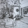 Miami Beach Courtyard 5″x7″ graphite on paper