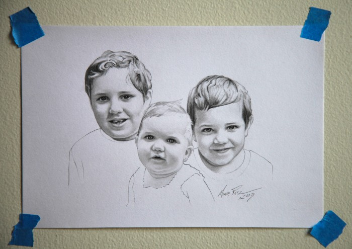 Trio 5″x7″ graphite on paper | Tiny Portrait