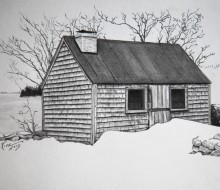 Maine Retreat 5″x7″ graphite on paper | Tiny Portrait